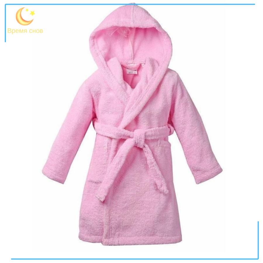 Халат махровый детский ЭЛИТ розовый 1